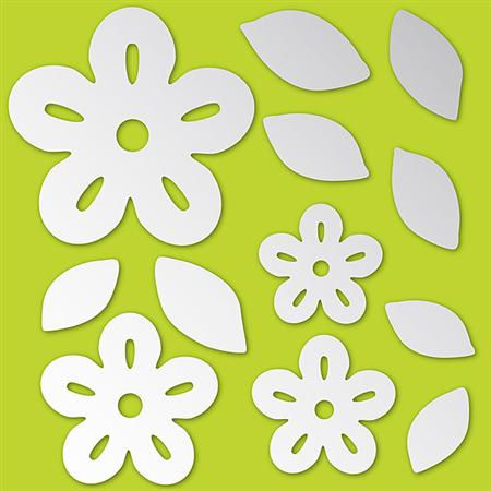 Flowers Peel and Stick Mirror Set - Wall Sticker Outlet
