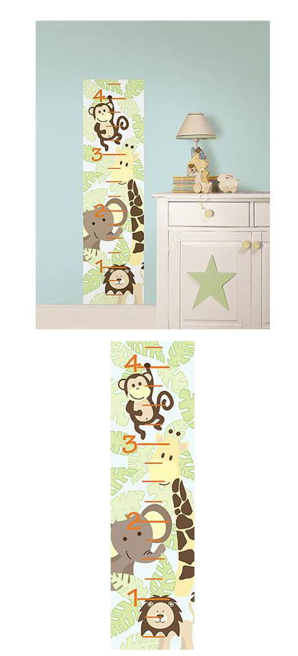 Jungle Friends Peel and Stick Growth Chart - Kids Wall Decor Store