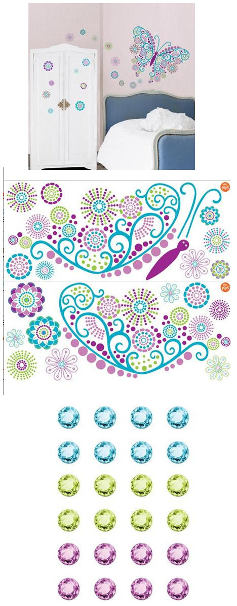 Social Butterfly Peel and Stick Decals - Wall Sticker Outlet