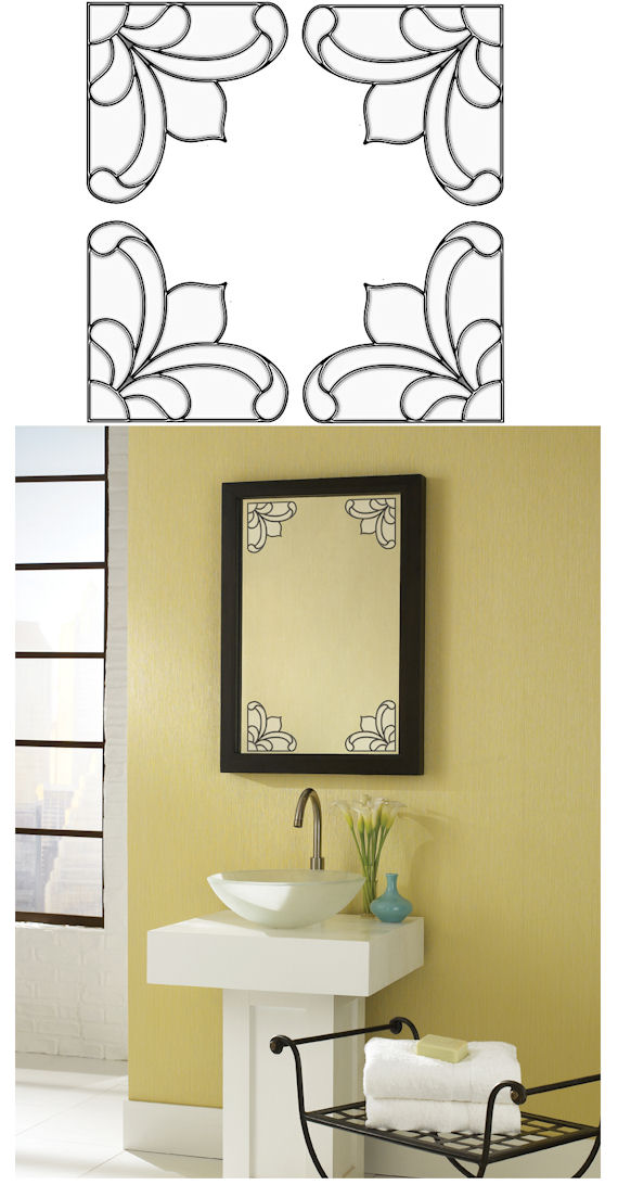 Victorian Corners Clear Stained Glass Sticker SALE - Wall Sticker Outlet