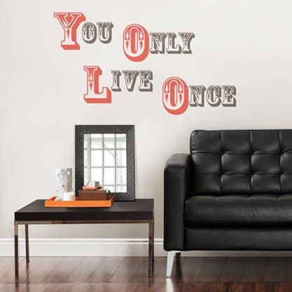 YOLO You Only Live Once Wall Quote Decal - Wall Sticker Outlet