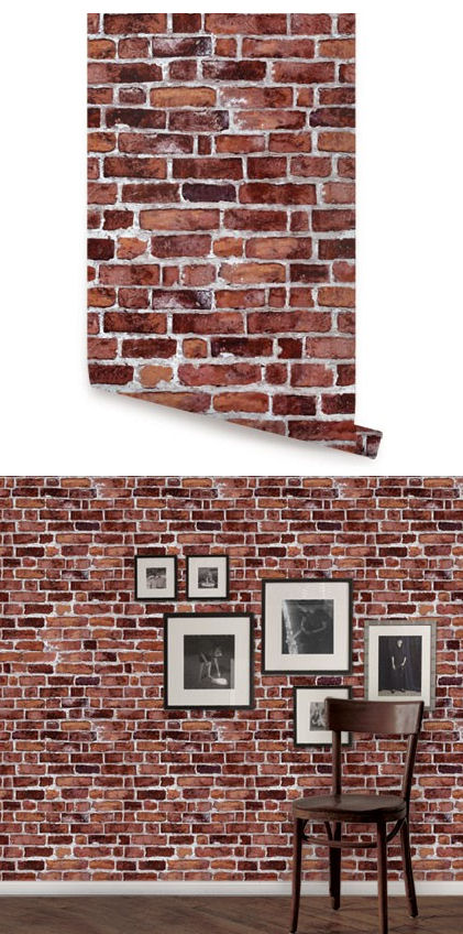 brick red peel and stick wallpaper