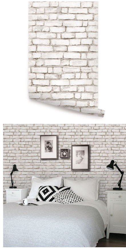 Brick white peel and stick wallpaper for Brick wallpaper ideas for kitchen