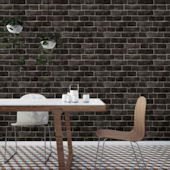 Brick Ebony Peel Stick Wallpaper