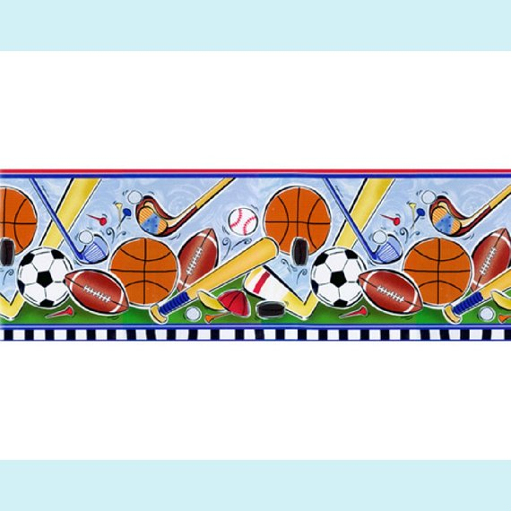 Lets Play Ball Pre-pasted Wall Border - Kids Wall Decor Store