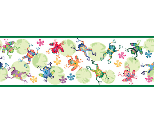 Tropical frogs pre pasted wall border