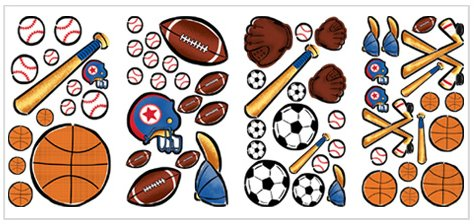Sports Fun Appliques - Kids Wall Decor Store