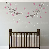 Butterfly Branch Wall Decals Color Scheme A