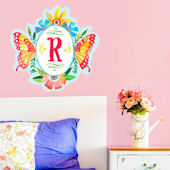 Butterfly Shield Monogram Peel and Stick Decal