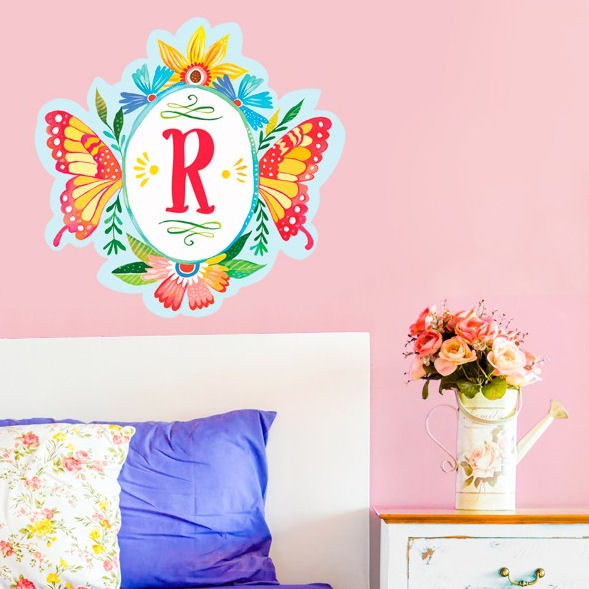 Butterfly Shield Monogram Peel and Stick Decal - Wall Sticker Outlet