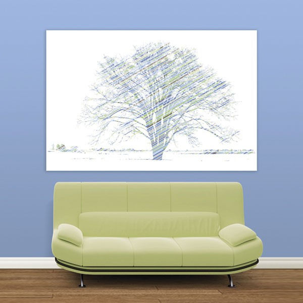 Calypso tree blue and green easy up wall mural for Easy wall mural