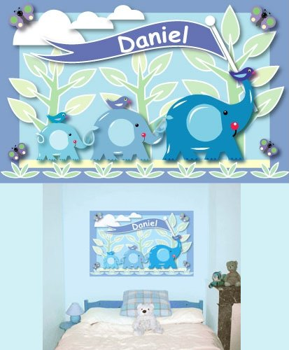 Customized Blue Elephant Create A Wall Mural - Wall Sticker Outlet