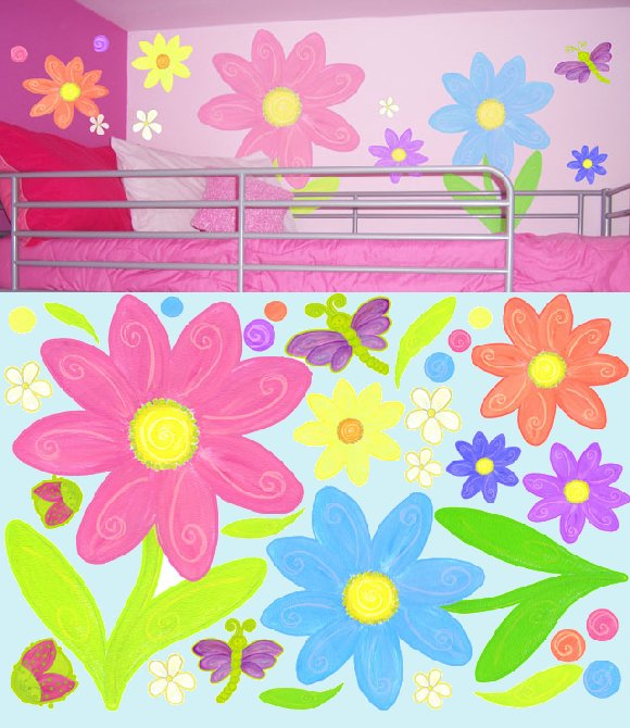Luv Bugs and Flowers Create A Wall Mural - Wall Sticker Outlet