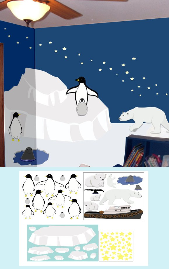 Polar Region Create A Wall Mural - Kids Wall Decor Store