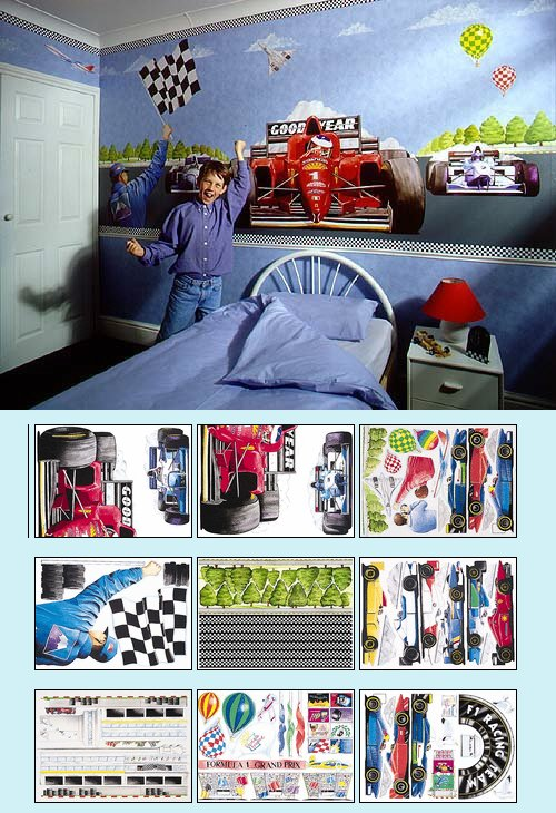 Race Car Create A Wall Mural - Large Kit - Kids Wall Decor Store