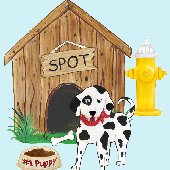 Puppy in the Doghouse Create A Wall Mural