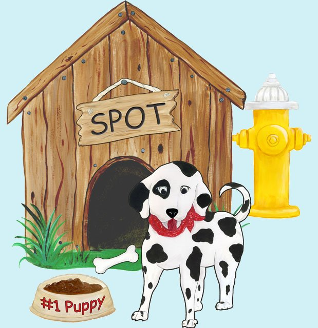 Puppy in the Doghouse Create A Wall Mural - Wall Sticker Outlet