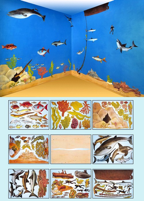under the sea create a wall mural kit. Black Bedroom Furniture Sets. Home Design Ideas