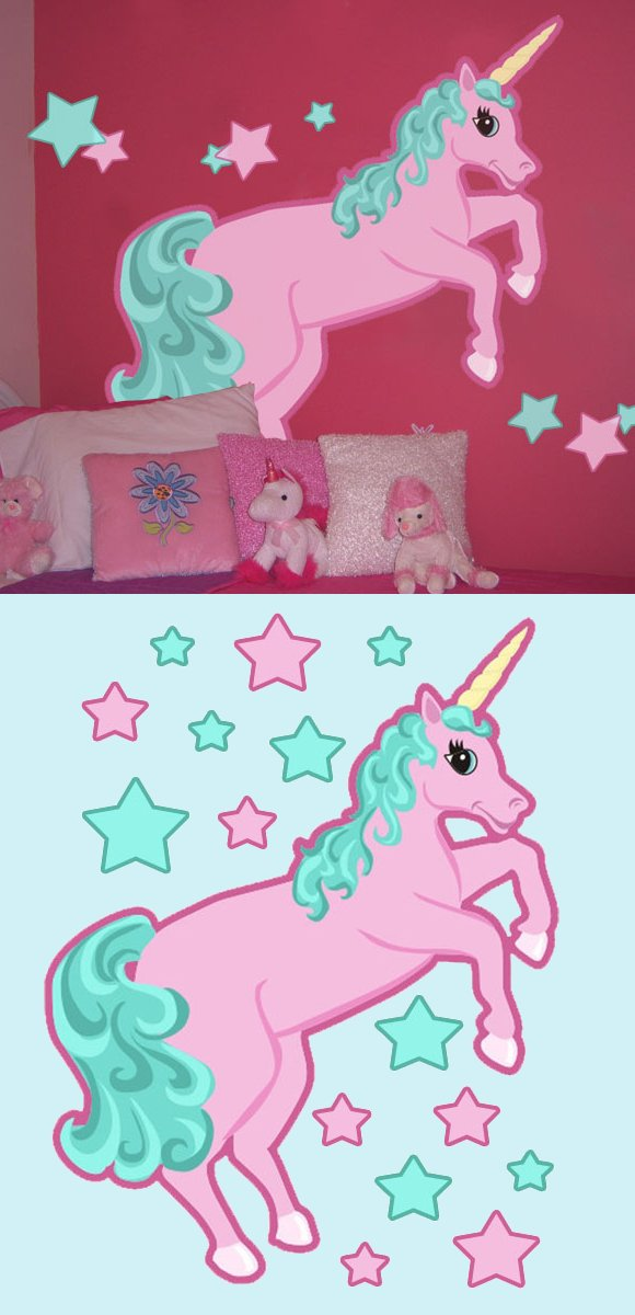 Pastel Unicorn Create A Wall Mural - Kids Wall Decor Store