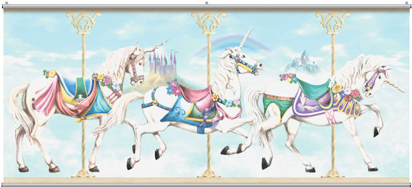 Carousel Unicorn Minute Mural - Wall Sticker Outlet