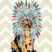 Ceremonial Tiger Cream Poster Decal