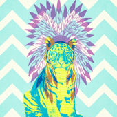 Ceremonial Tiger Turquoise Poster Decal