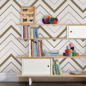 Chevron Bold Gold Peel and Stick Wallpaper