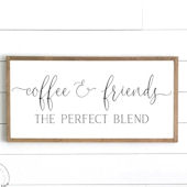 Coffee and Friends Wooden Wall Sign