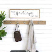 Family Name Est Wooden Wall Sign
