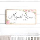 Girl Floral Custom Name Wooden Wall Sign