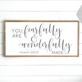 Fearfully and Wonderfully Made Wooden Wall Sign