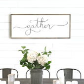 Gather Script Wooden Wall Sign