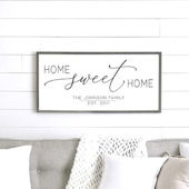 Home Sweet Home Family Name Wooden Wall Sign