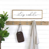Stay Awhile Lowercase Wooden Wall Sign