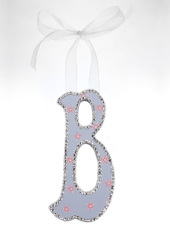 Swarovski Crystal Floral Wall Letter - Kids Wall Decor Store