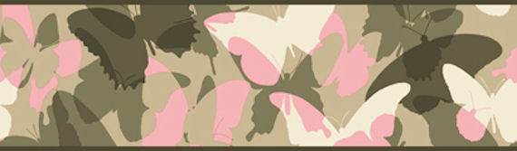 Candice Olson Pink and Green Camo Border SALE - Wall Sticker Outlet