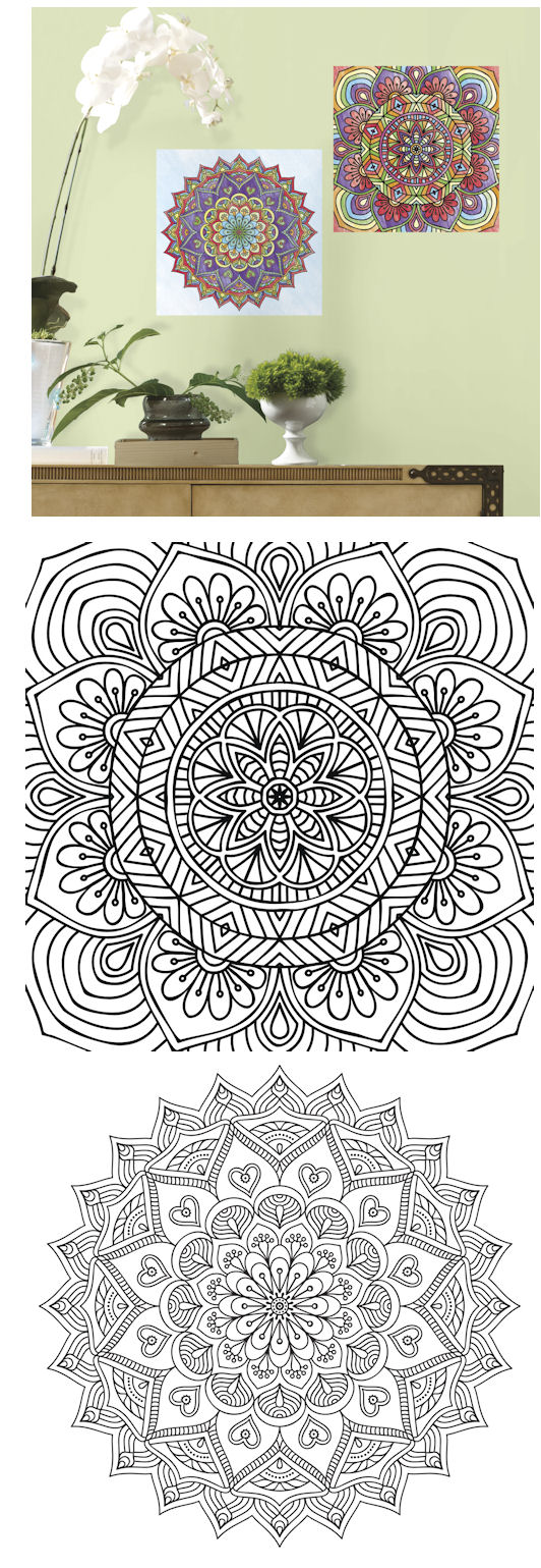 Mandala Peel and Stick Color Your Decal - Wall Sticker Outlet