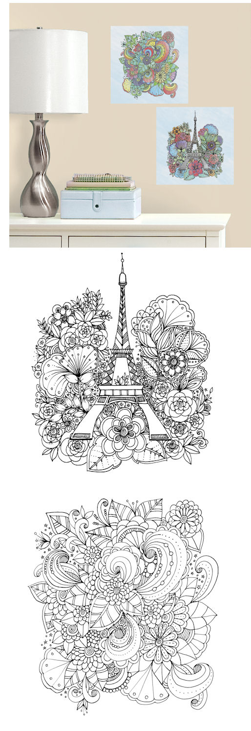Eiffel Tower and Flowers Color Your Decal - Wall Sticker Outlet