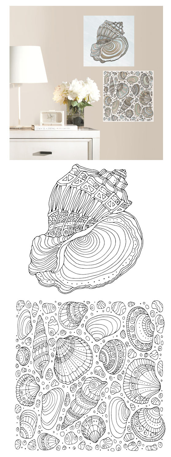 Seashell Peel and Stick Color Your Decal - Wall Sticker Outlet