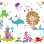 Colorful Mermaid Wall Decals