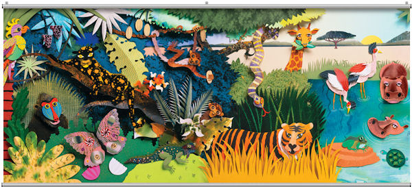 Colorful 3D Safari 1 Minute Mural - Wall Sticker Outlet