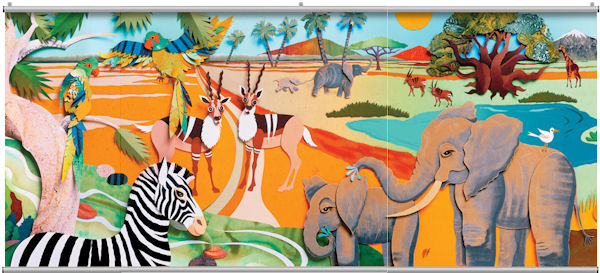 Colorful 3D Safari 2 Minute Mural - Wall Sticker Outlet