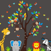 Colorful Leaves Jungle Animal Tree Wall Decals