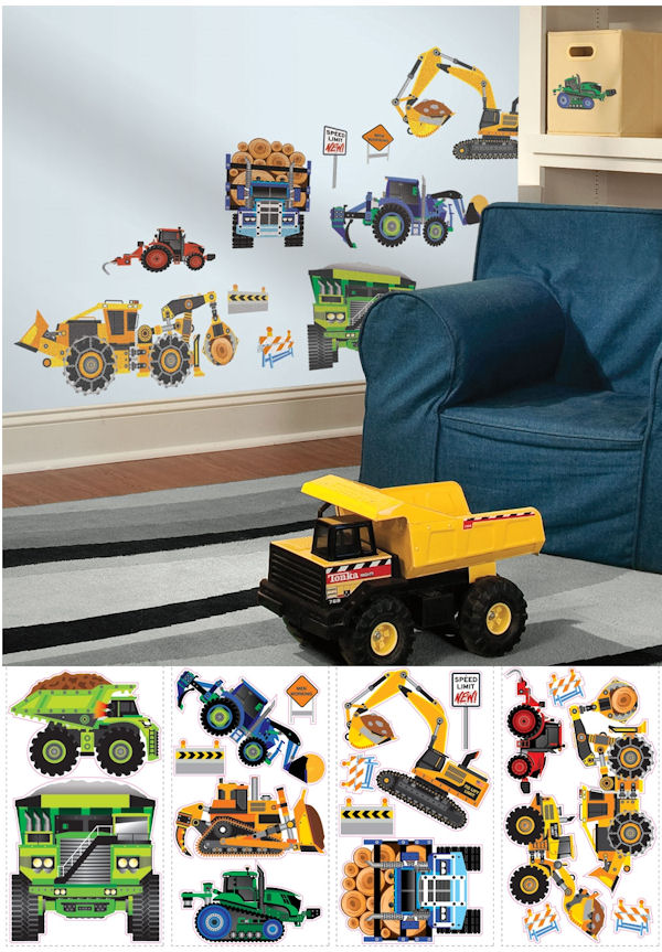 Construction Vehicles Peel and Stick Decals - Wall Sticker Outlet