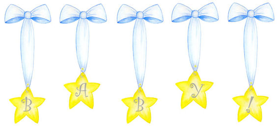 Create a Mural Baby Ribbons and Stars Wall Sticker - Wall Sticker Outlet