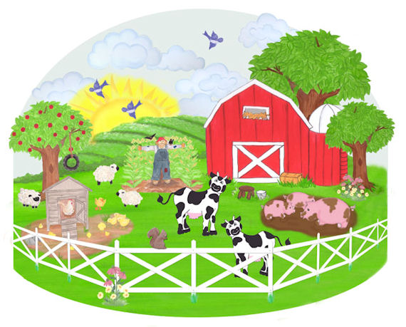 Create a mural barnyard wall sticker kids wall decor store for Barnyard wall mural