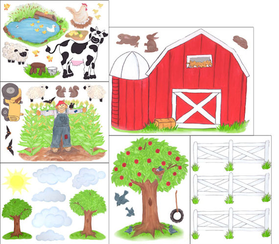Create a mural barnyard wall sticker kit kids wall decor for Barnyard wall mural