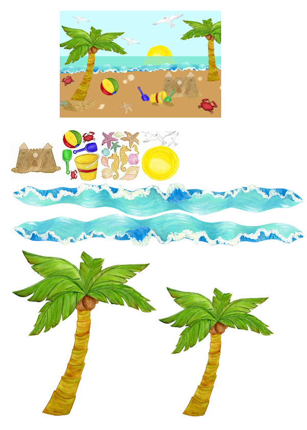 Beach Days Large Peel and Stick Mural Kit - Wall Sticker Outlet