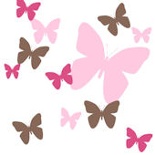 Butterfly Hot Pink and Brown Wall Decals