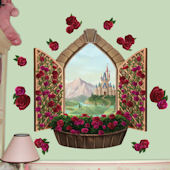 Castle Window with Roses Peel and Stick Wall Mural